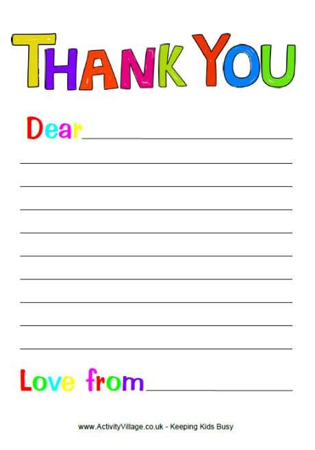 Letter Template for Kids Free Printable Thank You Note Paper for Children