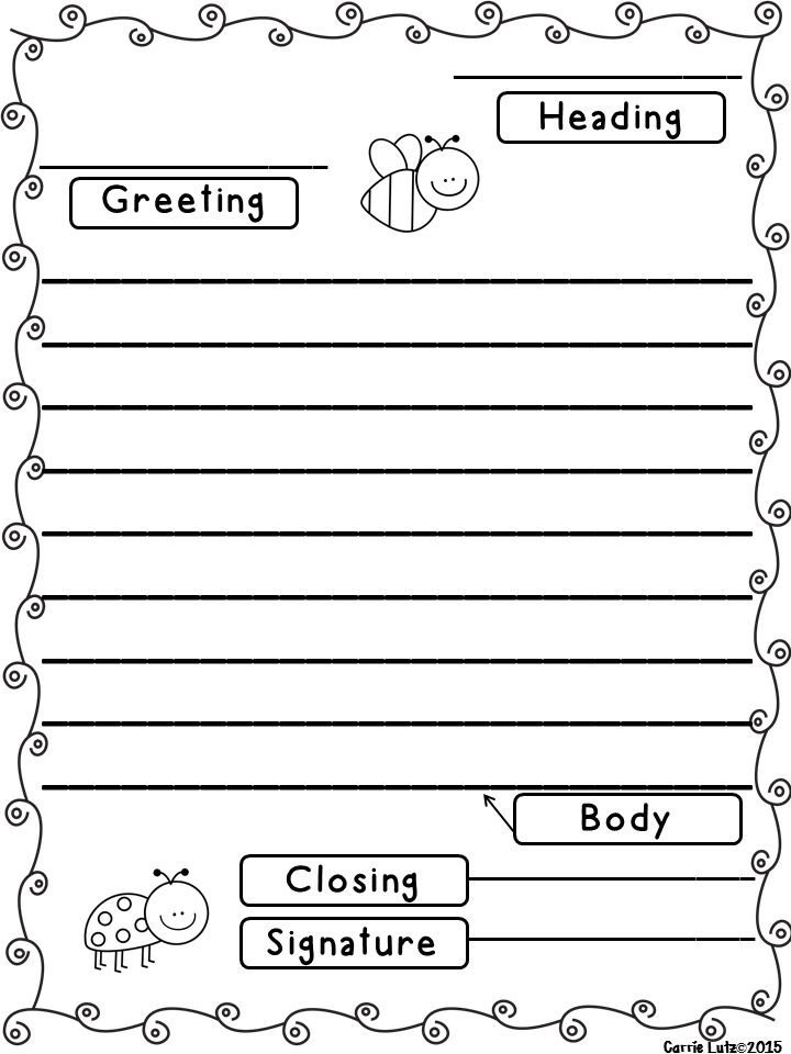 Letter Template for Kids Friendly Letter with Envelope with the 5 Parts Of A