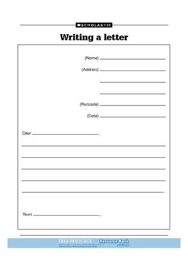 Letter Template for Kids Letter Template for Kids