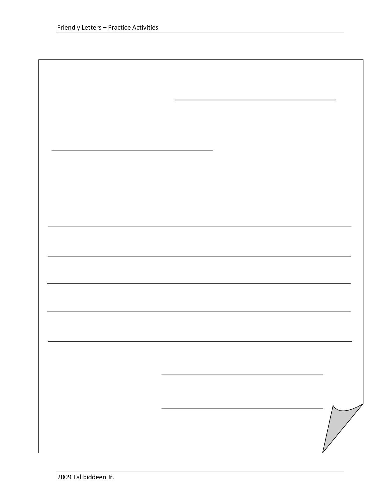 Letter Template for Kids Refrence Blank Letter Template 2nd Grade
