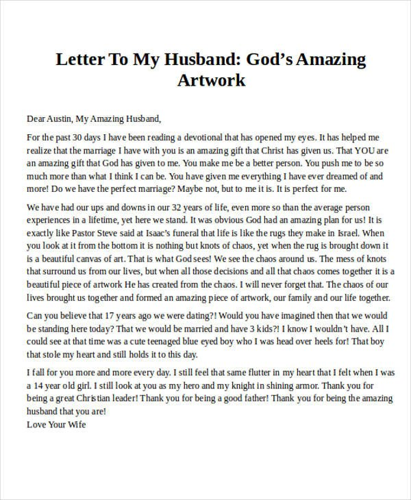 Letter to My Husband Love Letter Examples