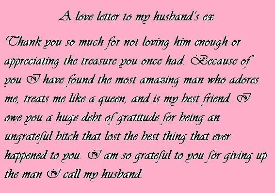 Letter to My Husband Love Letter to My Husband S Ex