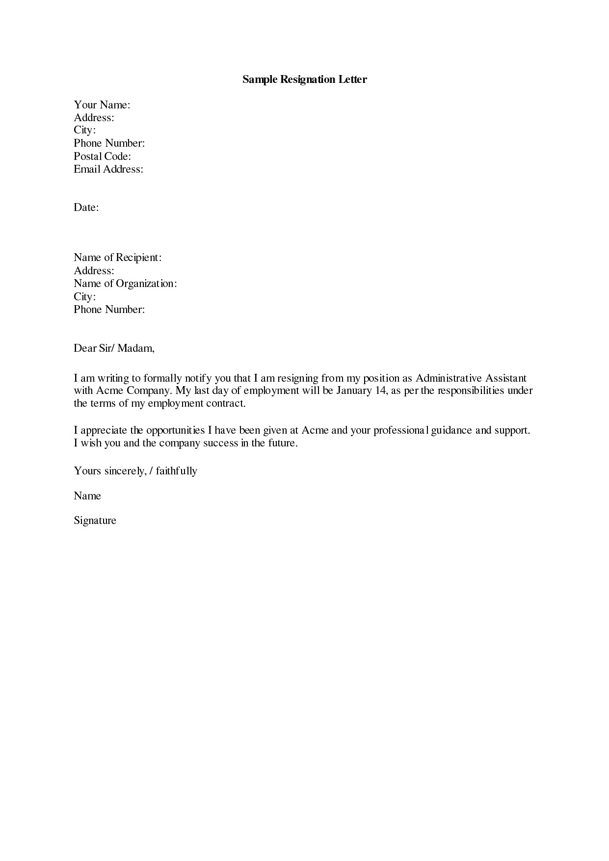 Letters Of Resignation Template Download Resignation Letters Pdf & Doc