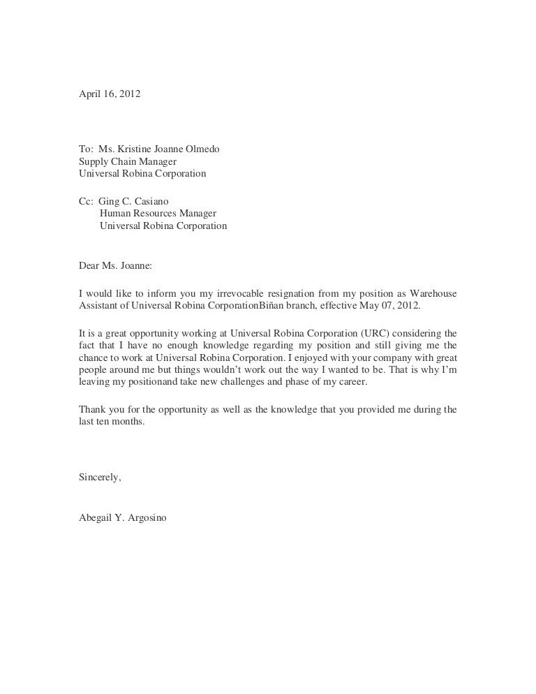 Letters Of Resignation Template Sample Of Resignation Letter