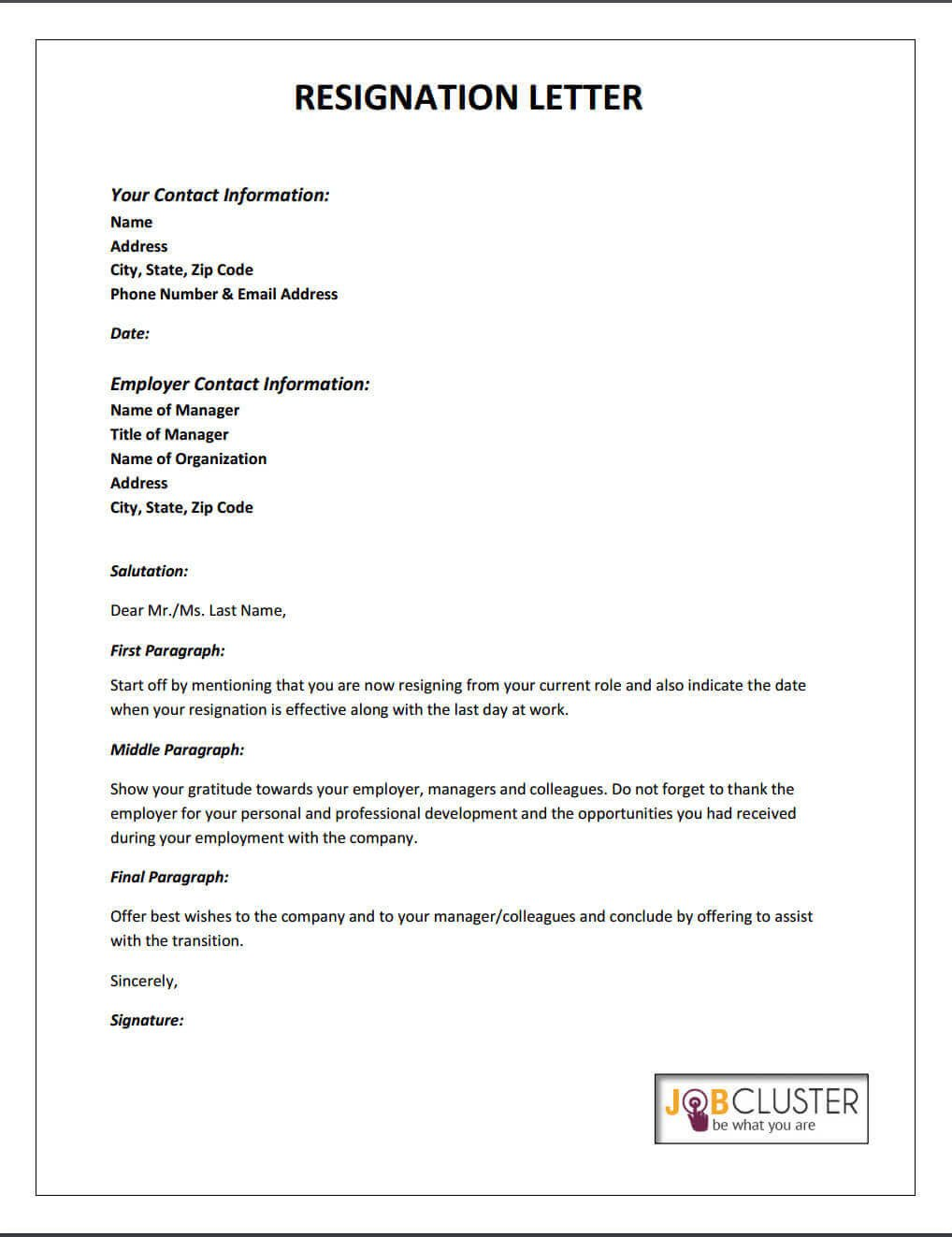 Letters Of Resignation Template Writing A Resignation Letter