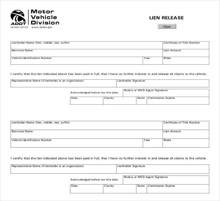 Lien Release Letter Template 11 Lien Release Sample forms – Word Pdf