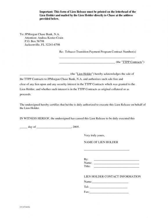 Lien Release Letter Template Letter Release form Mechanics Lien Release form Auto
