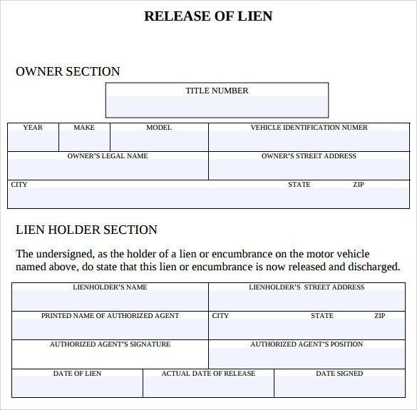 Lien Release Letter Template Sample Lien Release form 8 Download Free Documents In Pdf