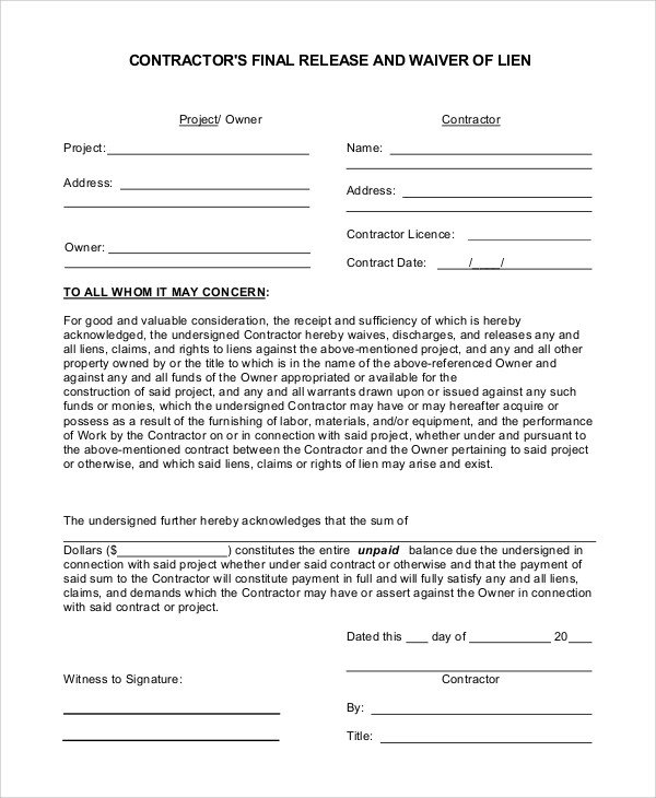 Lien Release Letter Template Sample Release Of Lien 8 Examples In Pdf Word