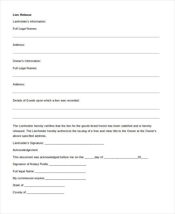 Lien Release Letter Template Sample Release Of Lien form 9 Free Documents In Pdf Doc
