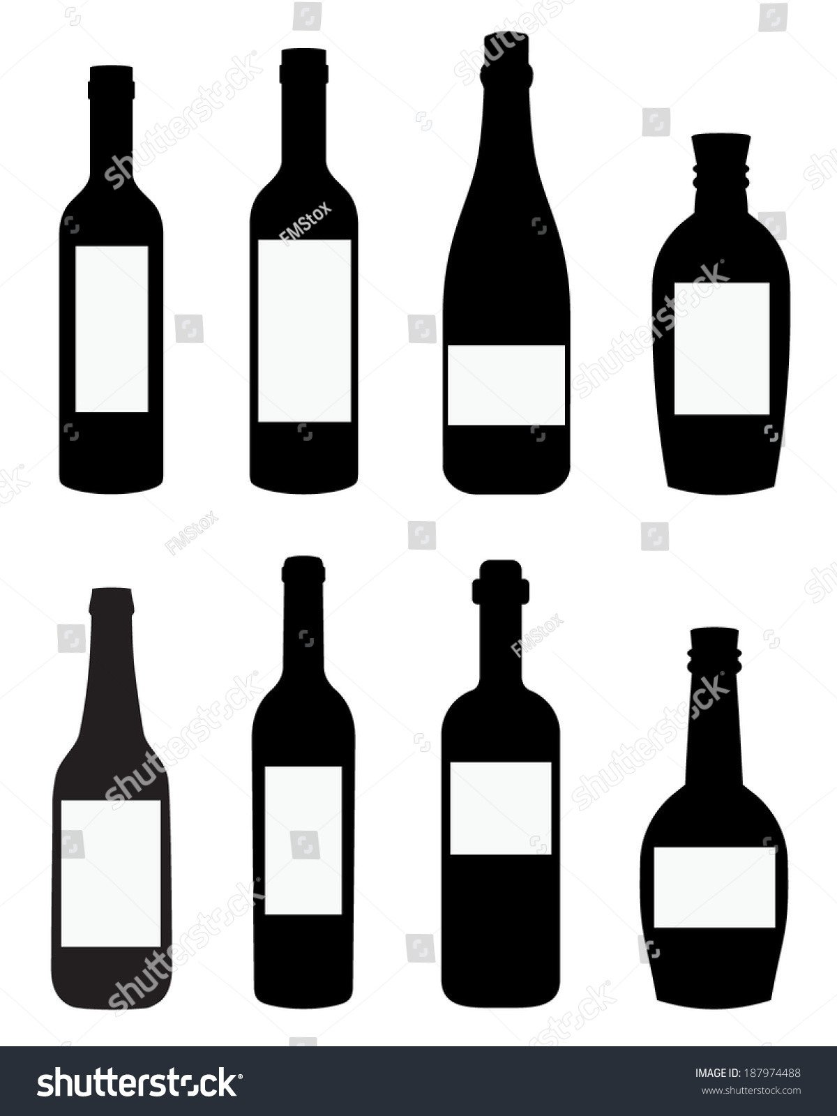 Liquor Bottle Labels Template Vector Liquor Wine Bottle Templates Spot Stock Vector