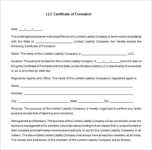 Llc Member Certificate Template 10 Membership Certificate Templates