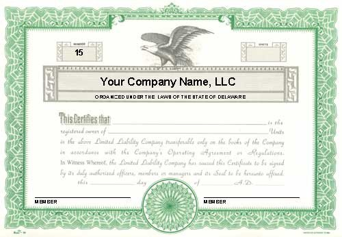 Llc Member Certificate Template Custom Printed Certificates Limited Liability Pany
