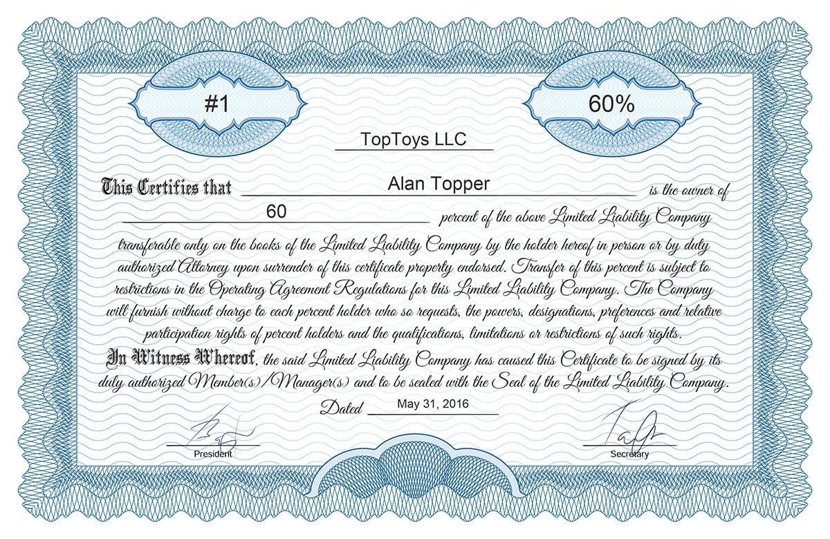 Llc Member Certificate Template Free Stock Certificate Online Generator
