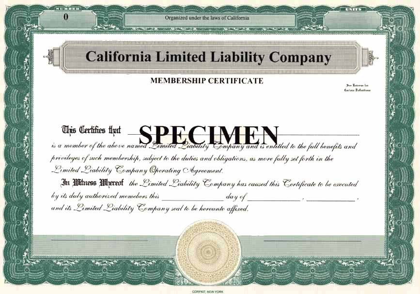 Llc Member Certificate Template Membership Certificate for A Limited Liability Pany