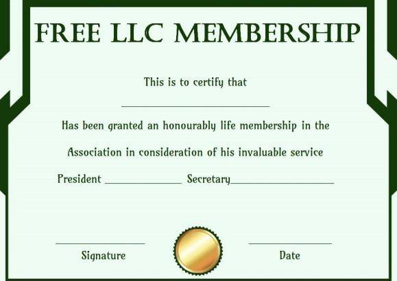 Llc Membership Certificate Template Free Llc Membership Certificate Template
