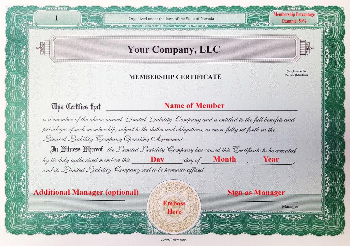 Llc Membership Certificate Template Laughlin associates Inc