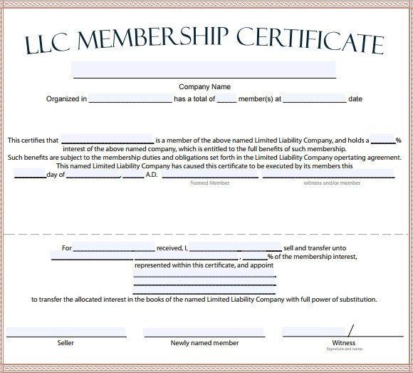 Llc Membership Certificate Template Membership Certificate Template 15 Free Sample Example