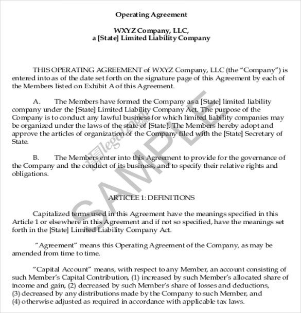 Llc Operating Agreement Template 13 Operating Agreement Templates – Word Apple Pages