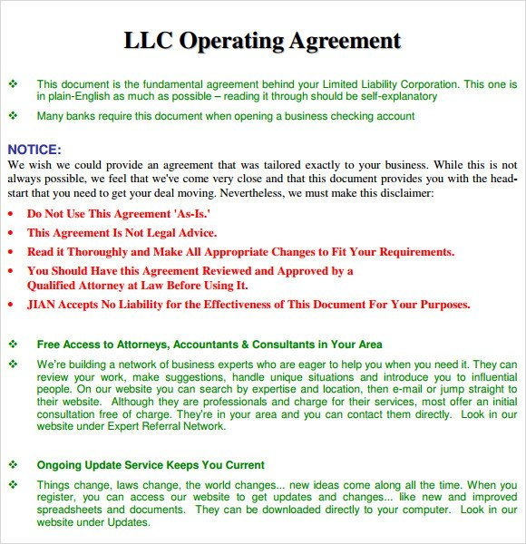 Llc Operating Agreement Template 13 Sample Operating Agreements Pdf Word