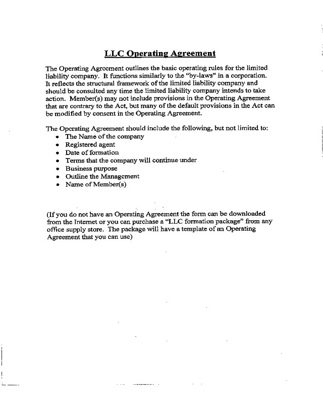 Llc Operating Agreement Template 2018 Llc Operating Agreement Template Fillable