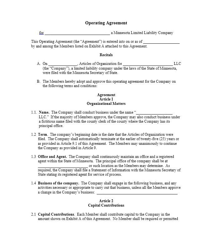 Llc Operating Agreement Template 30 Professional Llc Operating Agreement Templates