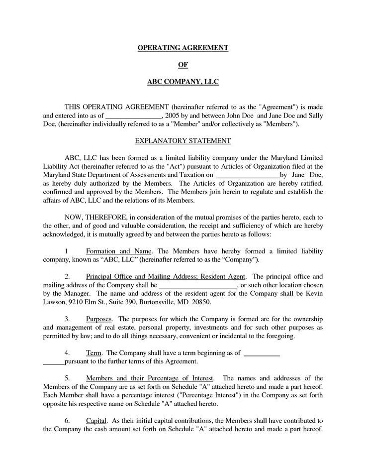 Llc Operating Agreement Template Basic Llc Operating Agreement by Jmcinerny Llc