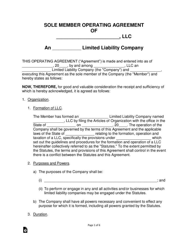 Llc Operating Agreement Template Free Single Member Llc Operating Agreement Template Pdf