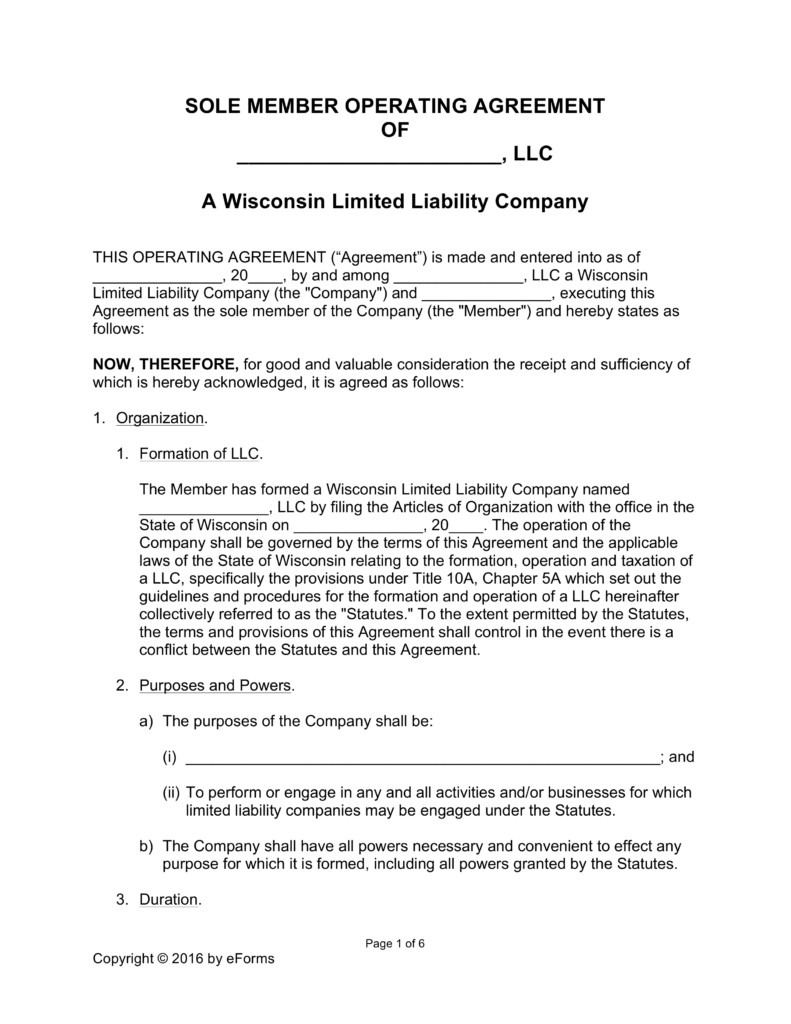 Llc Operating Agreement Template Free Wisconsin Llc Operating Agreement forms Word