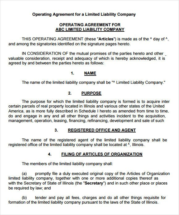 Llc Operating Agreement Template Llc Operating Agreement 11 Download Free Documents In
