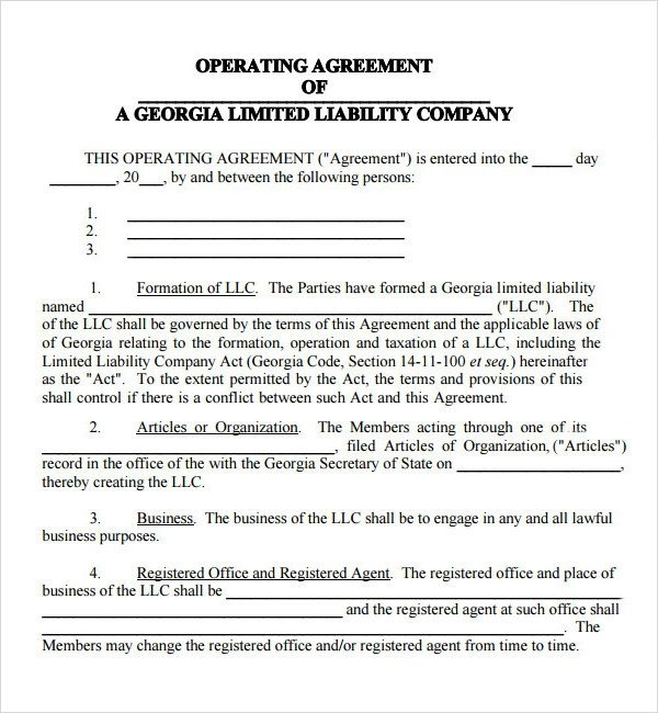 Llc Operating Agreement Template Operating Agreement 11 Free Pdf Google Doc Apple