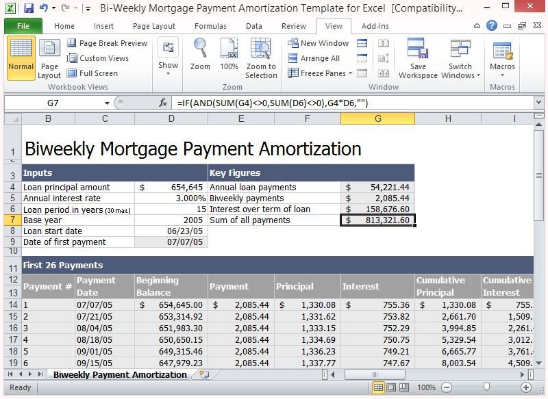 Loan Amortization Excel Template Bi Weekly Mortgage Payment Amortization Template for Excel