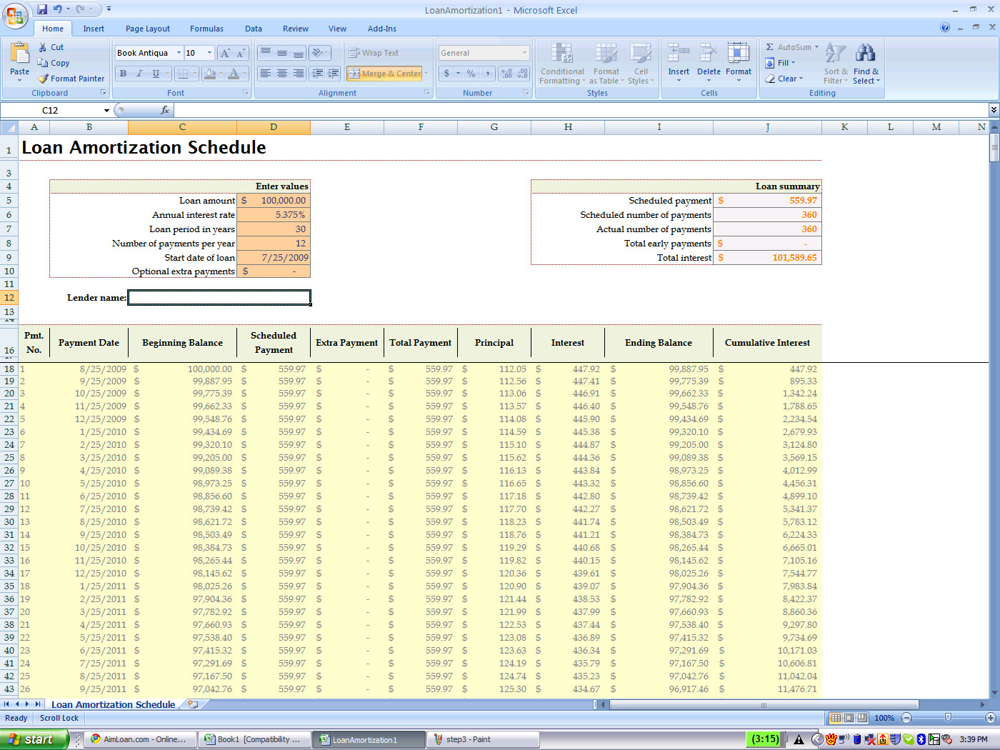 Loan Amortization Excel Template Using Excel's Built In Amortization Table