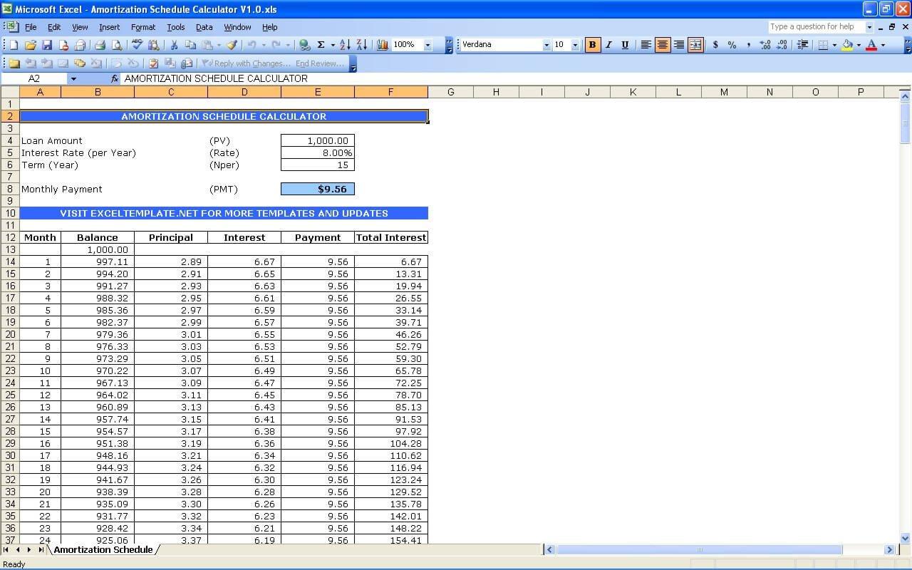 Loan Amortization Template Excel Amortization Schedule Calculator
