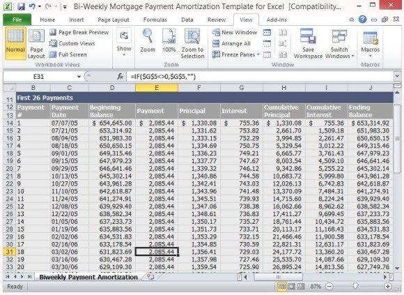 Loan Amortization Template Excel Bi Weekly Mortgage Payment Amortization Template for Excel