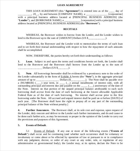 Loan Contract Template Word 16 Loan Agreement Templates Word Pdf
