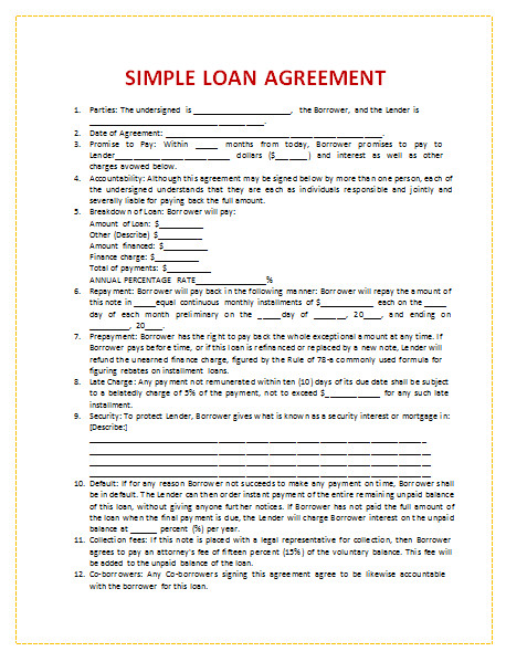 Loan Contract Template Word 45 Loan Agreement Templates & Samples Write Perfect