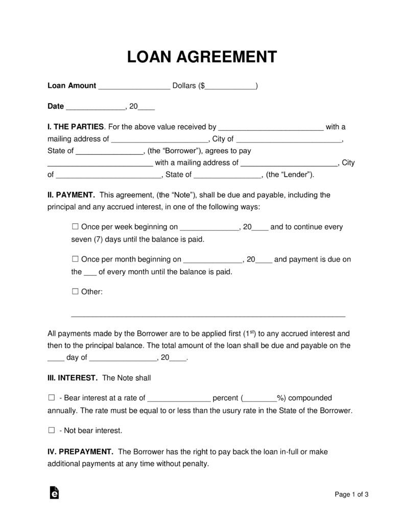 Loan Contract Template Word Free Loan Agreement Templates Pdf Word