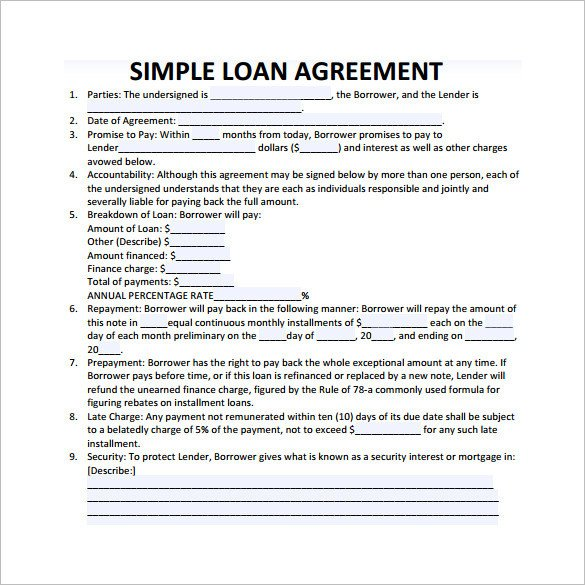 Loan Contract Template Word Loan Contract Template – 20 Examples In Word Pdf