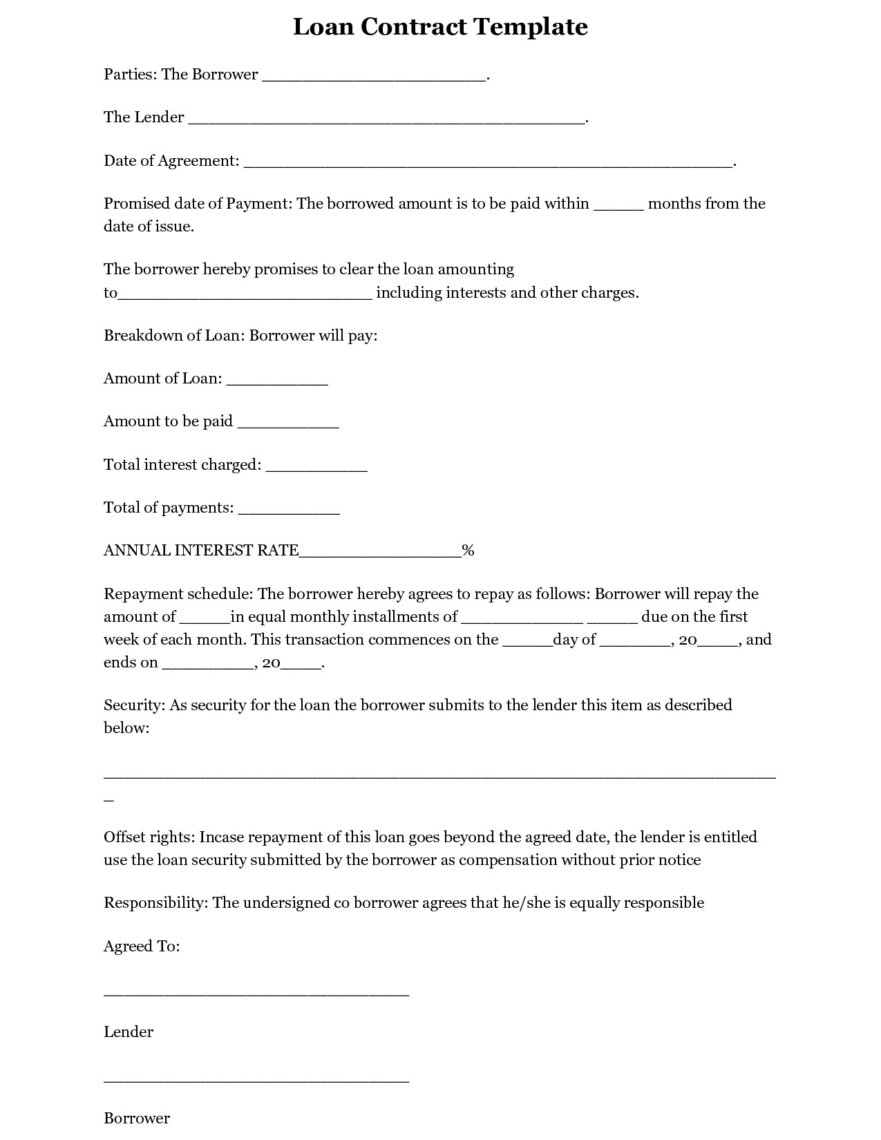 Loan Contract Template Word Simple Loan Agreement