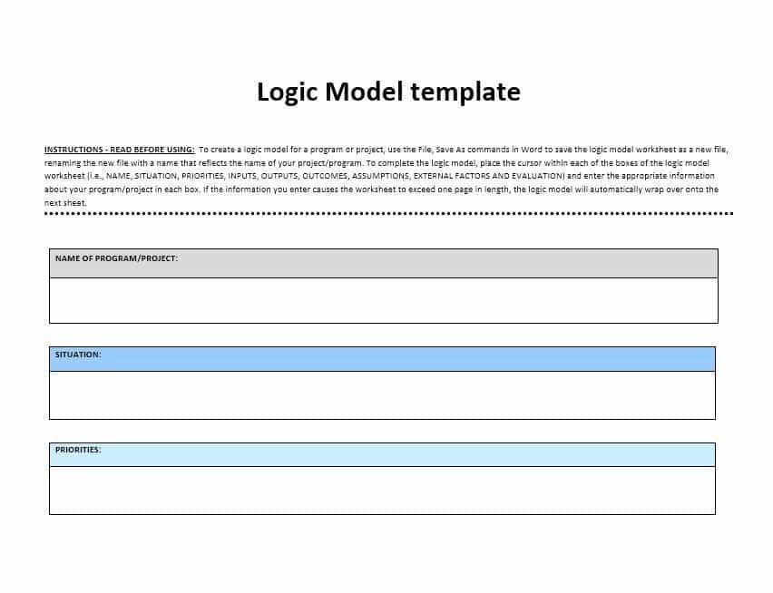 Logic Model Template Word 11 Logic Model Templates