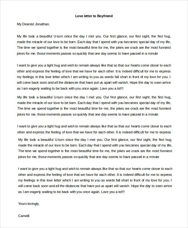 Love Letter to Fiance Sample Love Letter to Boyfriend 7 Examples In Word