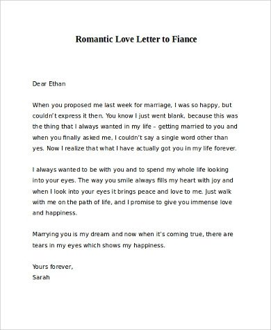 Love Letter to Fiance Sample Romantic Love Letter 8 Examples In Word
