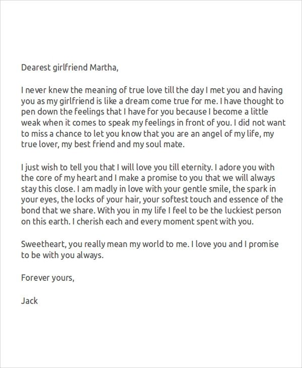 Love Letter to Girlfriend Sample Love Letters for Her 7 Examples In Word