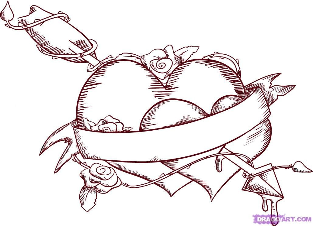 Love Pictures to Draw Emo Love Coloring Pages