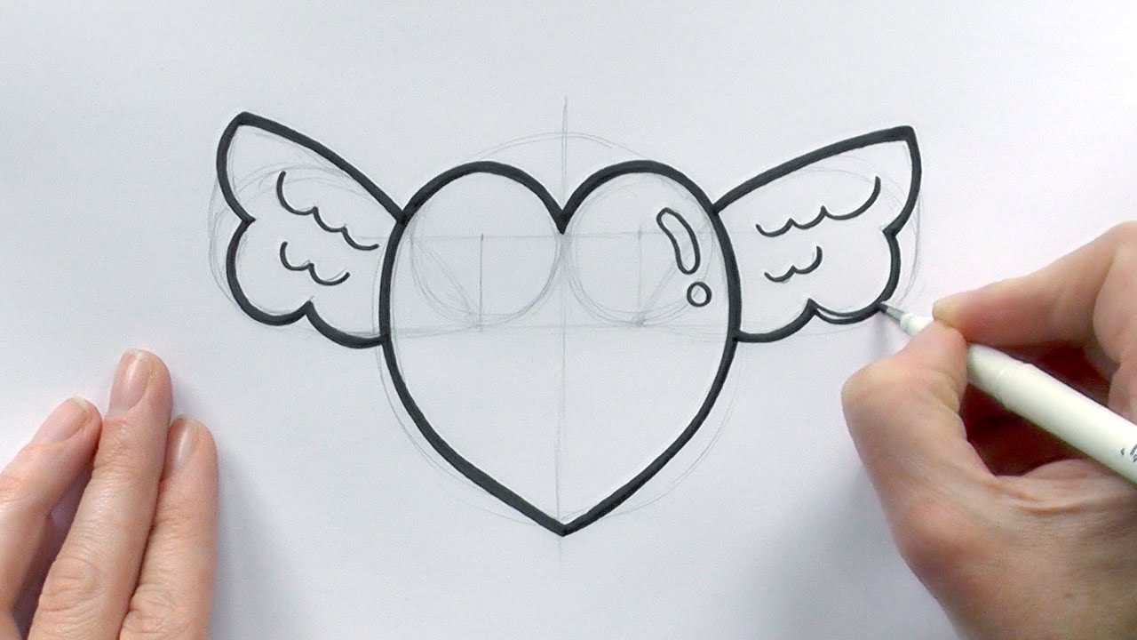 Love Pictures to Draw How to Draw A Cartoon Love Heart with Wings for Valentine