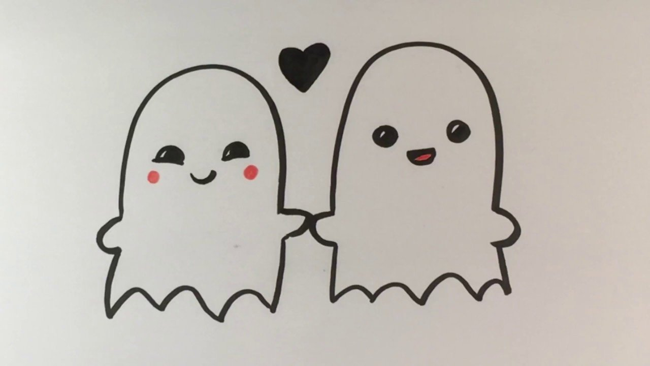 Love Pictures to Draw How to Draw Ghosts In Love Cute Halloween Drawings