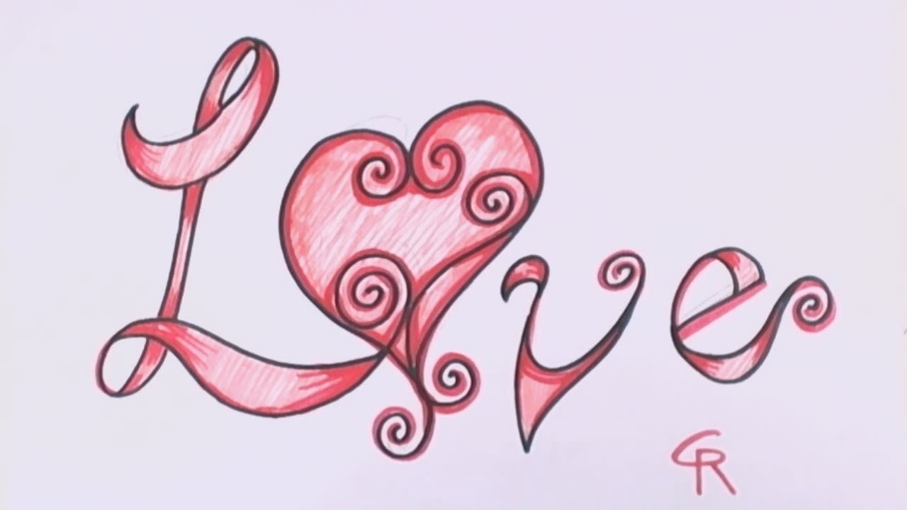 Love Pictures to Draw How to Draw Love In Fancy Letters Curly Letters with A