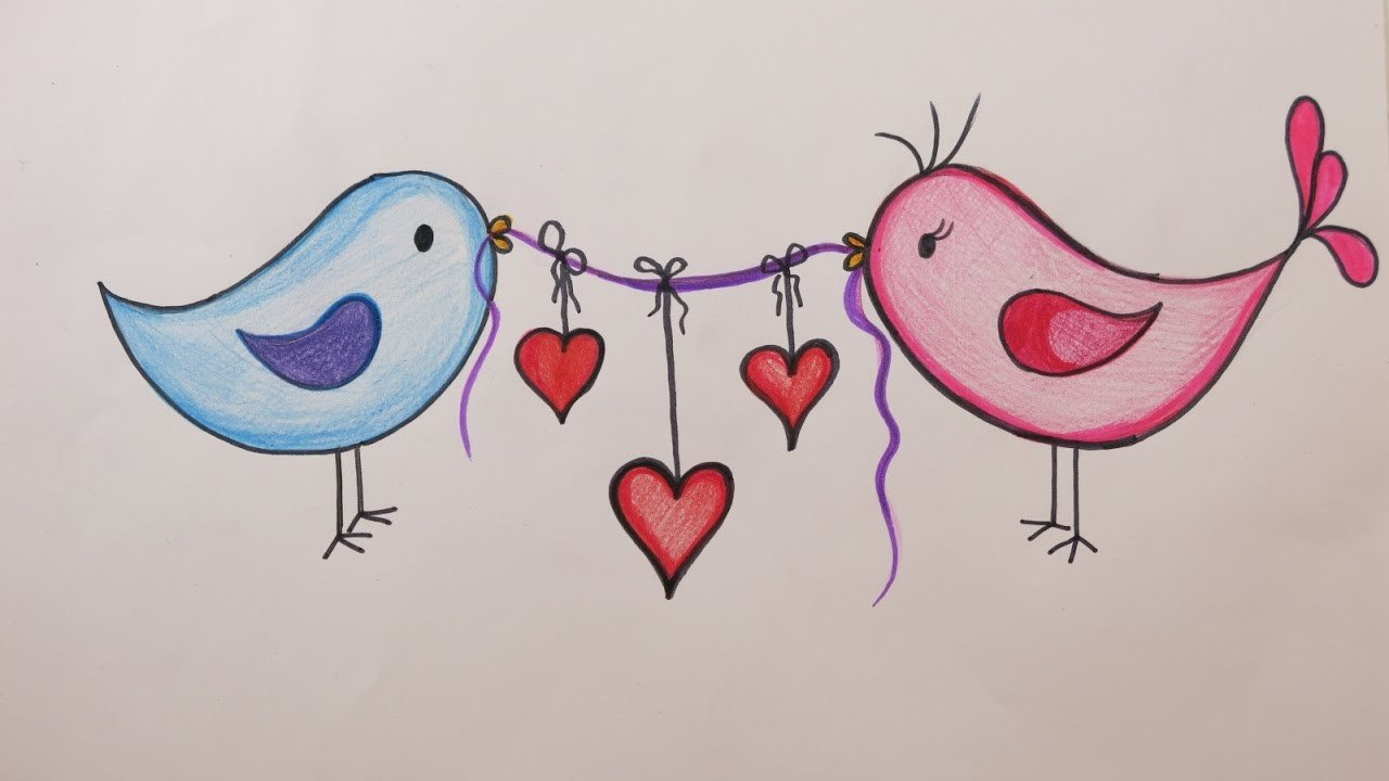 Love Pictures to Draw Valentine S Day Diy How to Draw Love Birds Holding Hearts