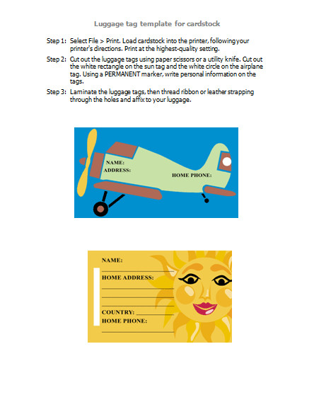 Luggage Tag Template Word Luggage Tags for Word 2003 Newer Personal Access